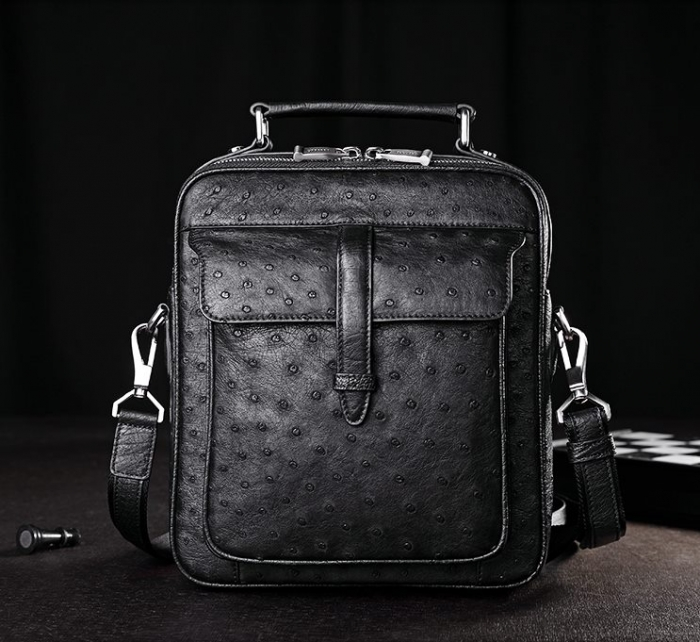 Ostrich Leather Flapover Briefcase Messenger Bag for Men