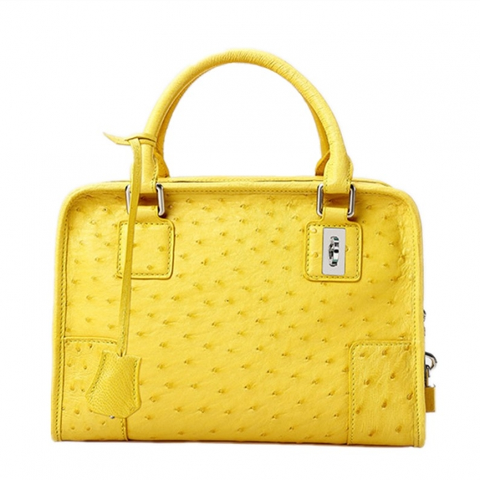 Ostrich Leather Handbags Ladies Ostrich Padlock Bags