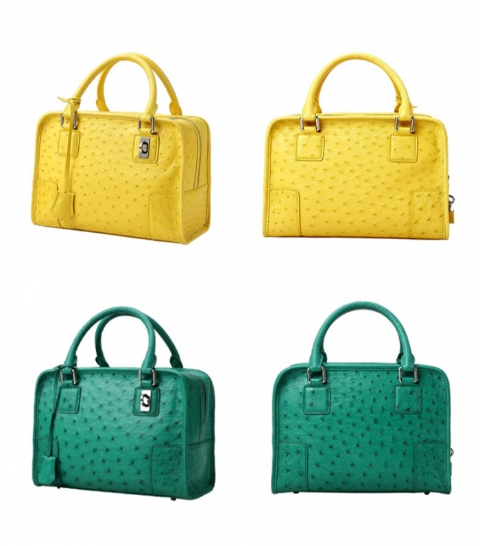 Ostrich Leather Handbags Ladies Ostrich Padlock Bags-Details