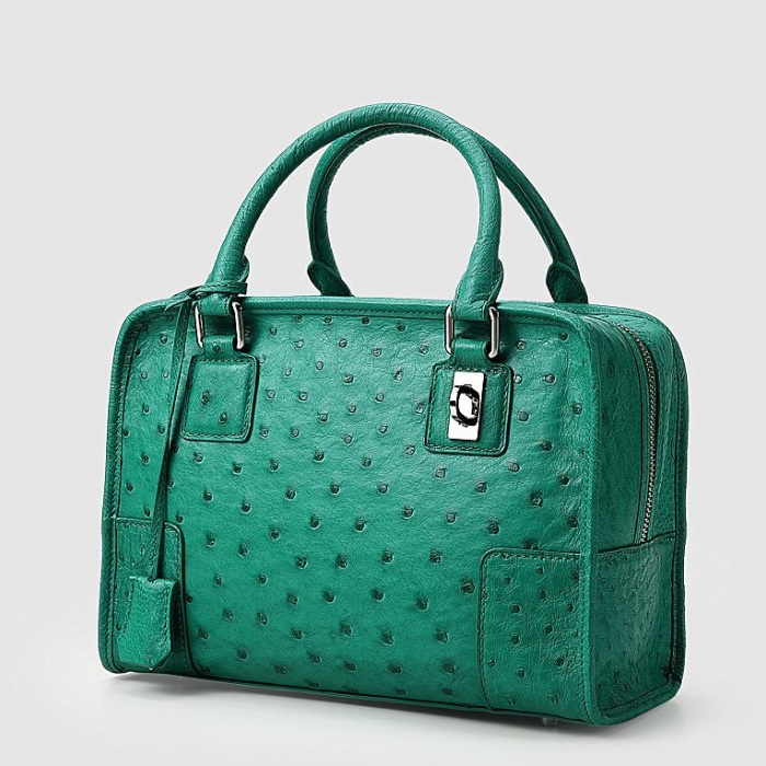 Ostrich Leather Handbags Ladies Ostrich Padlock Bags-Green