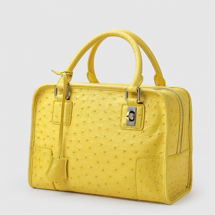 Ostrich Leather Handbags Ladies Ostrich Padlock Bags-Micro Side