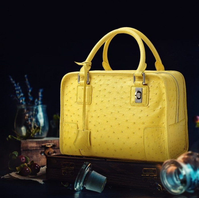 Ostrich Leather Handbags Ladies Ostrich Padlock Bags-Yellow