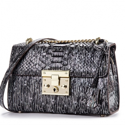 Python Skin Purse, Python Skin Clutch Bag Cross Body Bag-Black-Mirco Side