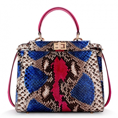 Snakeskin Handbag, Python Skin Crossbody Bag for Women