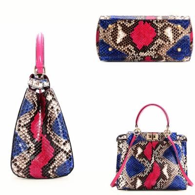 Snakeskin Handbag, Python Skin Crossbody Bag for Women-Details