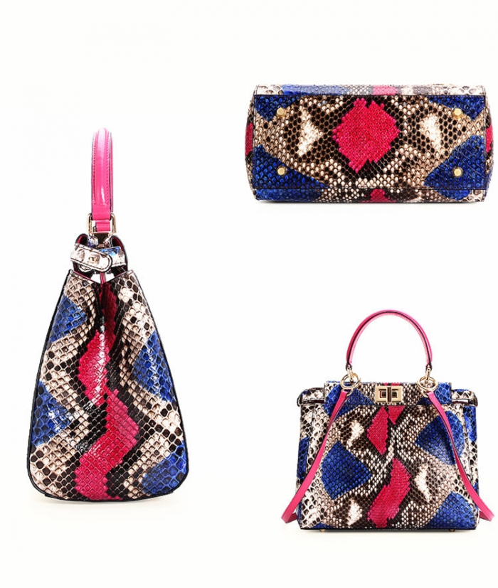 Snakeskin Handbag, Python Skin Crossbody Bag for Women-Details
