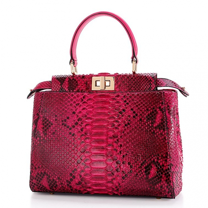 Snakeskin Handbag, Python Skin Crossbody Bag for Women-Red