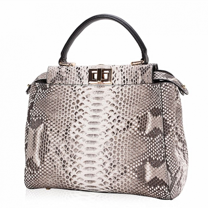 Snakeskin Handbag, Python Skin Crossbody Bag for Women-White