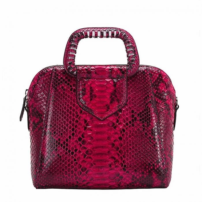 Snakeskin Handbag Top-Handle Bag Tote Crossbody Bag-Red