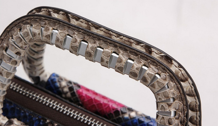 Snakeskin Handbag Top-Handle Bag Tote Crossbody Bag-Top Handle