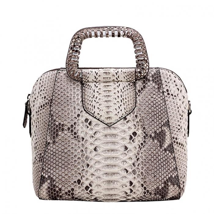 Snakeskin Handbag Top-Handle Bag Tote Crossbody Bag-White