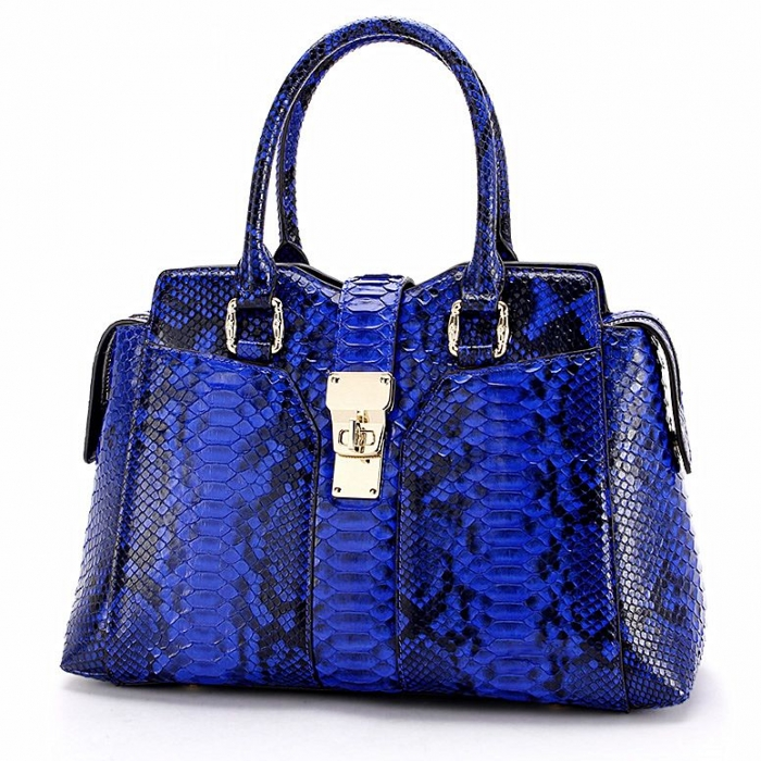 Stylish Snakeskin Top-Handle Handbags for Women-Blue