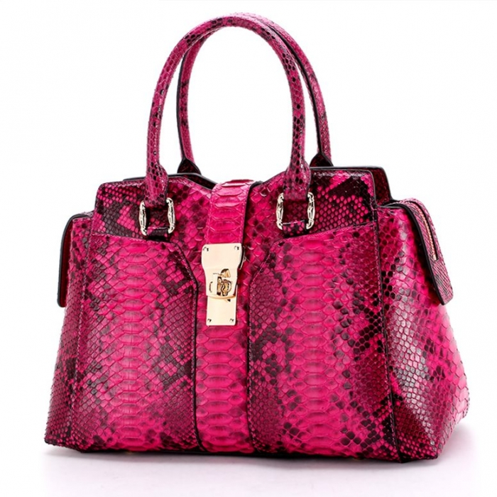 Stylish Snakeskin Top-Handle Handbags for Women-Red