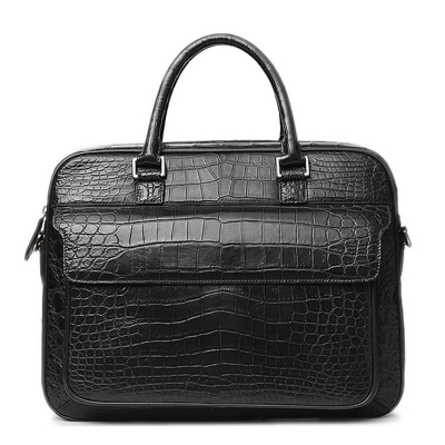 Alligator Briefcase Shoulder Laptop Business Messenger Bag-Black