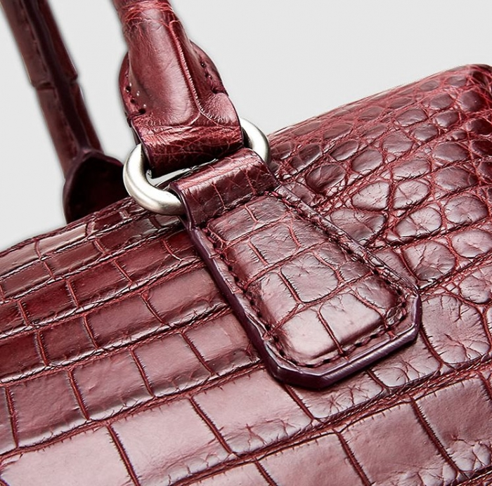 Boston Style Alligator Shoulder Strap Crossbody Handbag Tote Laptop Satchel Purse-Details-1