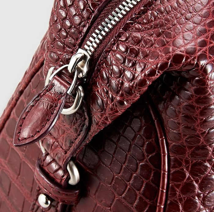 Boston Style Alligator Shoulder Strap Crossbody Handbag Tote Laptop Satchel Purse-Details