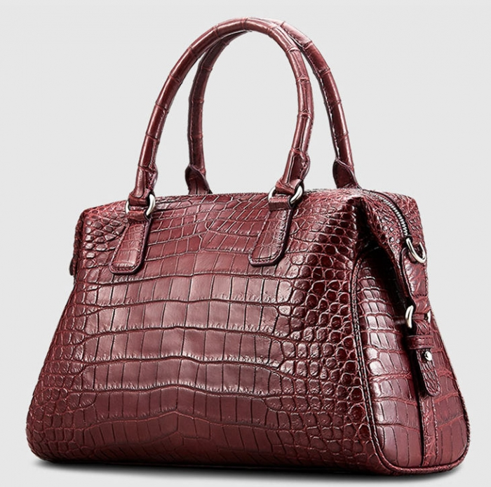 Boston Style Alligator Shoulder Strap Crossbody Handbag Tote Laptop Satchel Purse-Micro Side