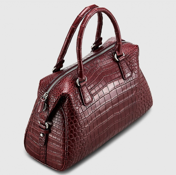 Boston Style Alligator Shoulder Strap Crossbody Handbag Tote Laptop Satchel Purse-Top