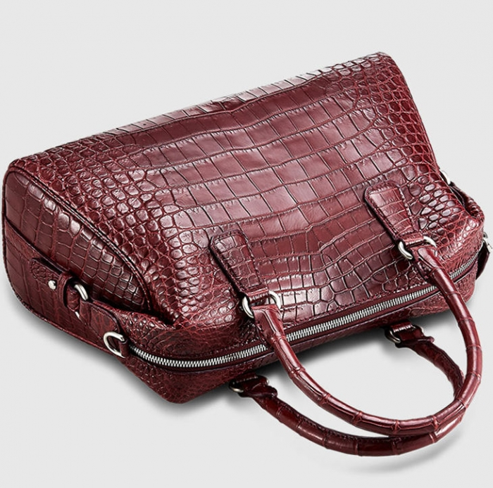 Boston Style Alligator Shoulder Strap Crossbody Handbag Tote Laptop Satchel Purse-Top Handle
