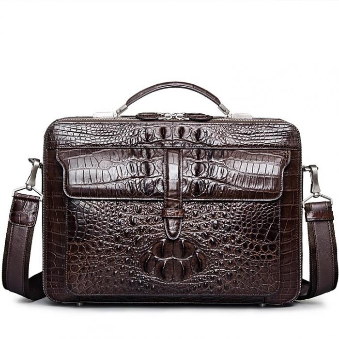 Crocodile Messenger Bag Laptop Briefcase Satchel Shoulder Bag-Brown