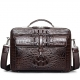 Crocodile Messenger Bag Laptop Briefcase Satchel Shoulder Bag-Brown