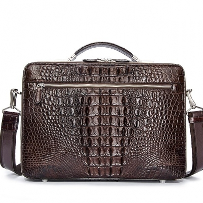 Crocodile Messenger Bag Laptop Briefcase Satchel Shoulder Bag-Brown-Back