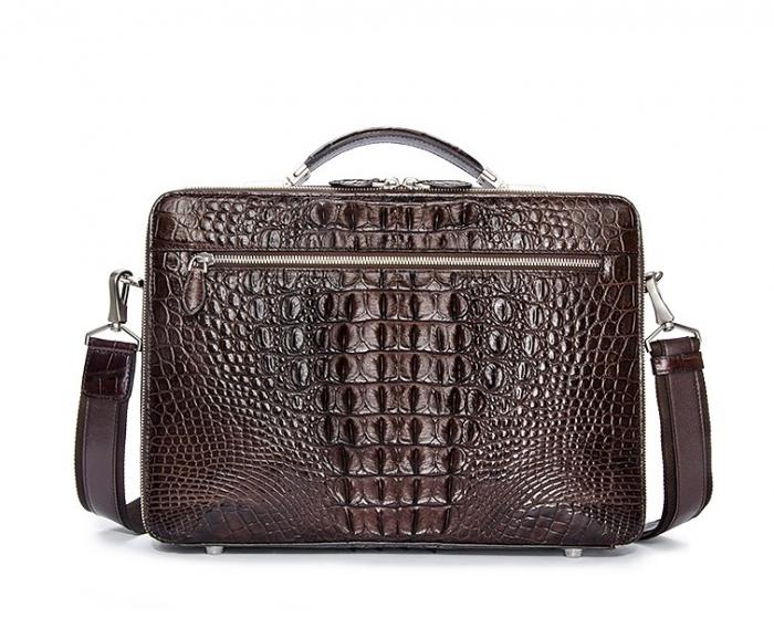 Crocodile Messenger Bag Laptop Briefcase Satchel Shoulder Bag-Brown-Back