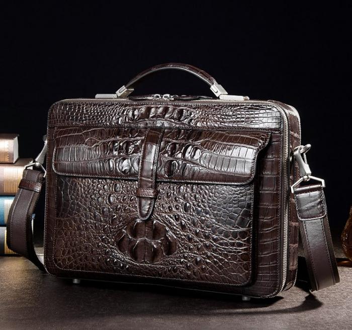 Crocodile Messenger Bag Laptop Briefcase Satchel Shoulder Bag-Brown-Display