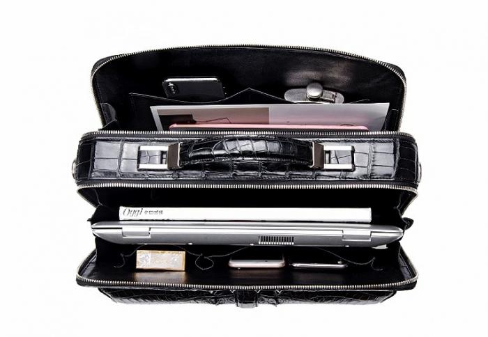 Crocodile Messenger Bag Laptop Briefcase Satchel Shoulder Bag-Inside