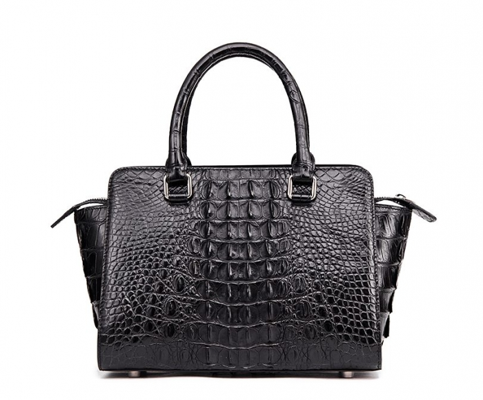 Crocodile Tote Bags Top Handle Shoulder Handbags with Zipper-Back