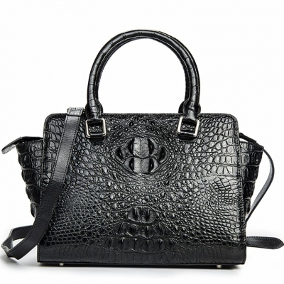 Crocodile Tote Bags Top Handle Shoulder Handbags with Zipper-Black