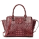 Crocodile Tote Bags Top Handle Shoulder Handbags with Zipper-Burgundy