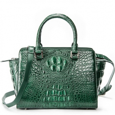 Crocodile Tote Bags Top Handle Shoulder Handbags with Zipper-Green