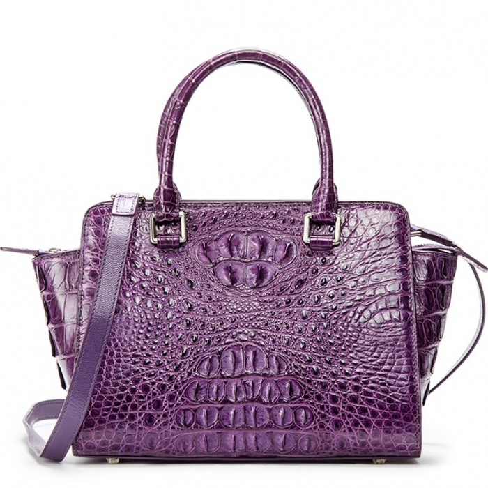 Crocodile Tote Bags Top Handle Shoulder Handbags with Zipper-Purple