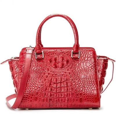 Crocodile Tote Bags Top Handle Shoulder Handbags with Zipper-Red