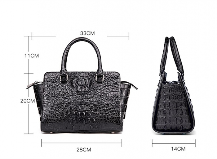Crocodile Tote Bags Top Handle Shoulder Handbags with Zipper-Size