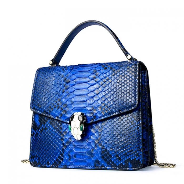 Designer Python Skin Tote Bag Purse Crossbody Bag-Blue