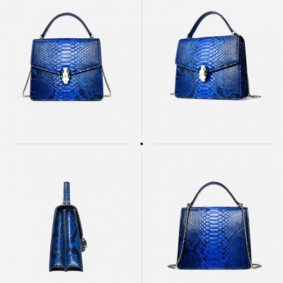 Designer Python Skin Tote Bag Purse Crossbody Bag-Blue-Details