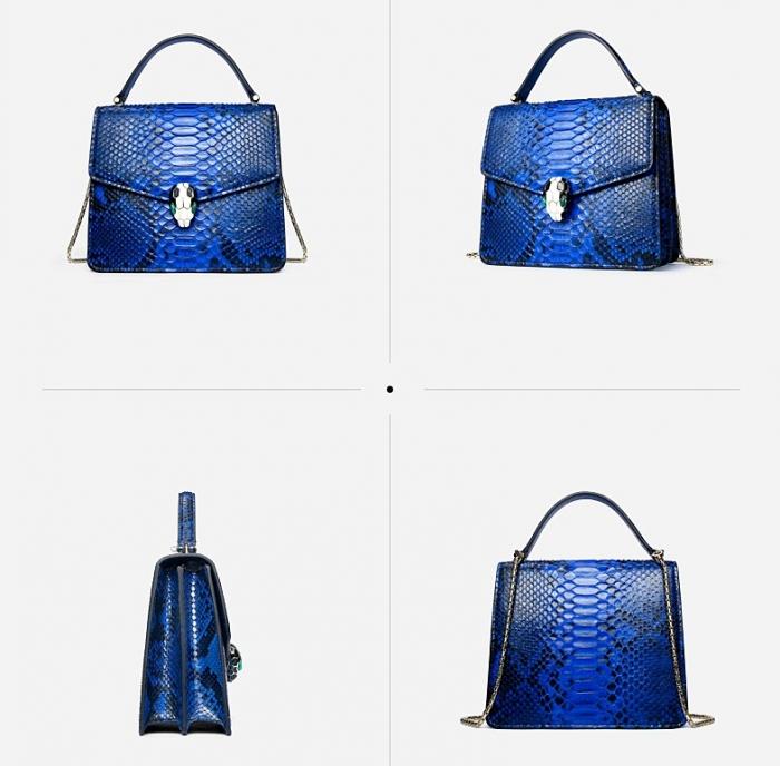 Designer Python Skin Tote Bag Purse Crossbody Bag-Blue-Details