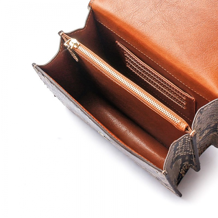Designer Python Skin Tote Bag Purse Crossbody Bag-Inside