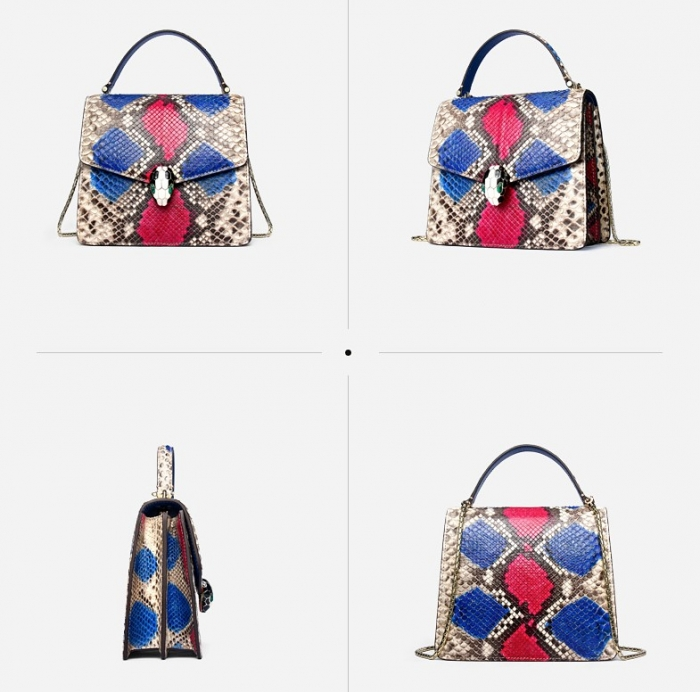 Designer Python Skin Tote Bag Purse Crossbody Bag-Red-Details