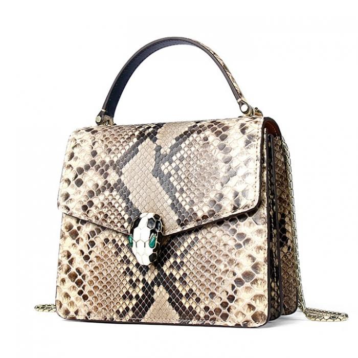 Designer Python Skin Tote Bag Purse Crossbody Bag-White