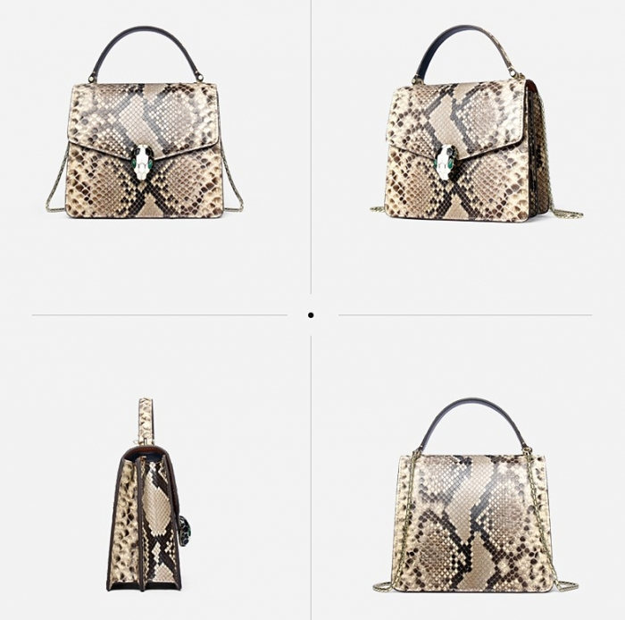 Designer Python Skin Tote Bag Purse Crossbody Bag-White-Details