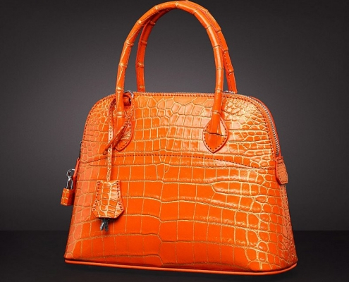 Genuine alligator leather handbag-Orange