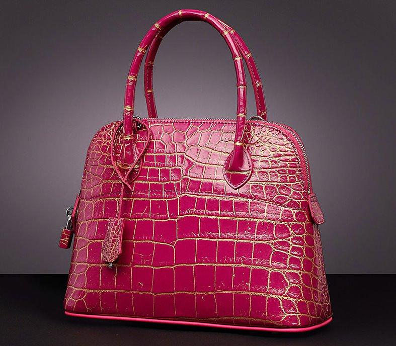 Genuine alligator leather handbag-Red