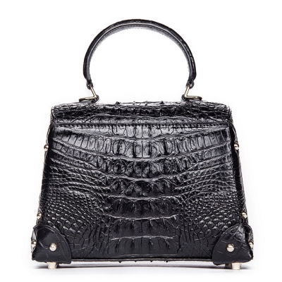 Ladies Crocodile Shoulder Bag Top Handle Handbag-Black-Back