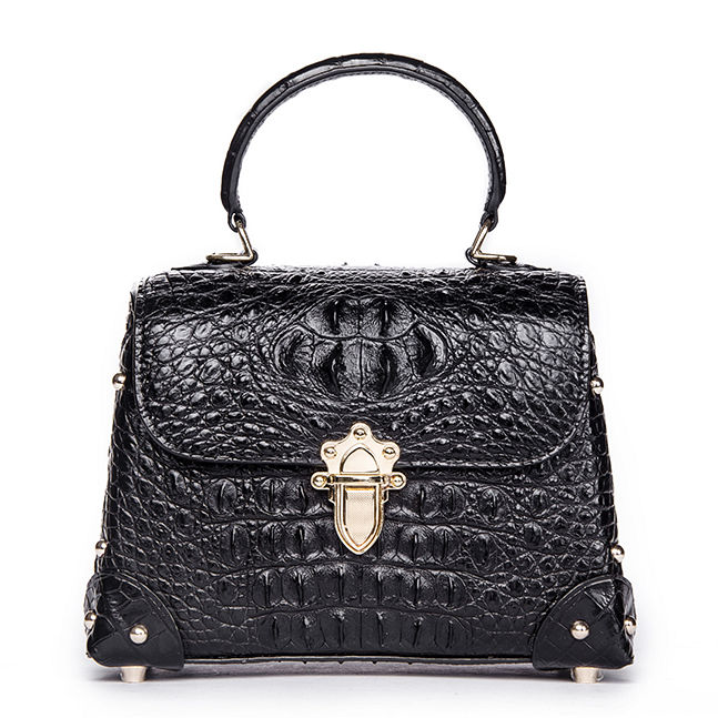 Ladies Crocodile Shoulder Bag Top Handle Handbag-Black