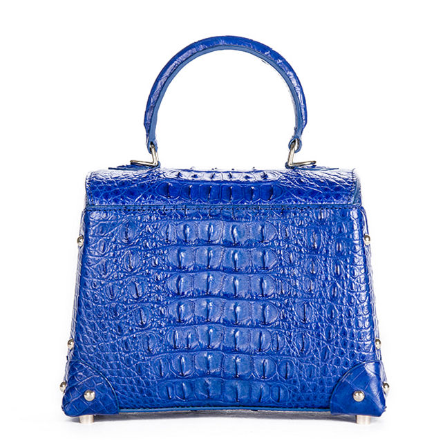 Ladies Crocodile Shoulder Bag Top Handle Handbag-Blue-Back