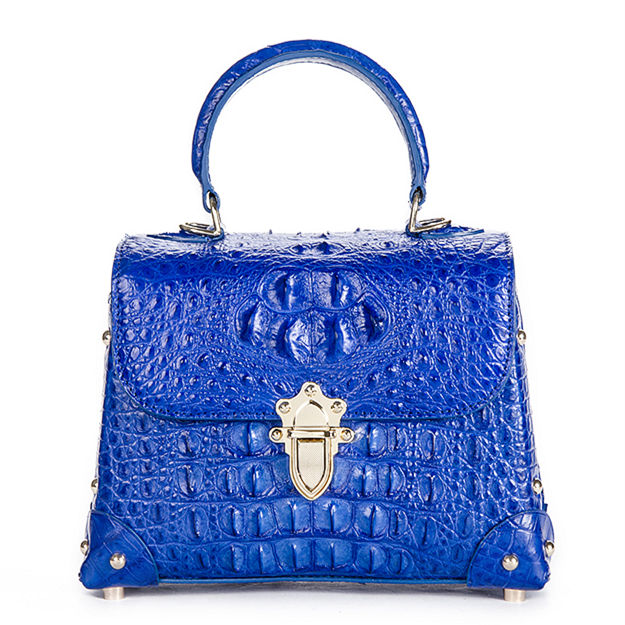 Ladies Crocodile Shoulder Bag Top Handle Handbag-Blue