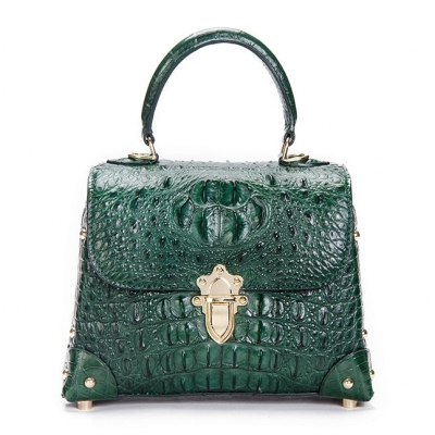 Ladies Crocodile Shoulder Bag Top Handle Handbag-Green